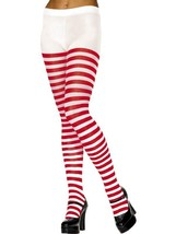 Striped Tights, Red and White, One Size - £4.72 GBP