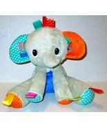 "BRIGHT STARTS TAGGIES GRAY ELEPHANT RATTLE PLUSH 10"" SOFT STUFFED BABY TOY  - $11.99"