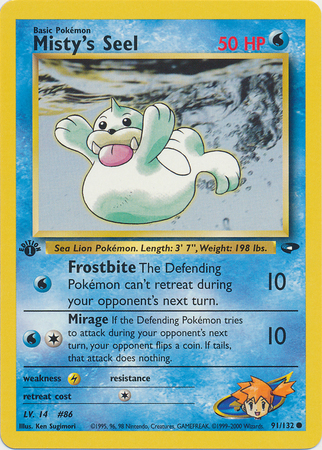 Misty's Seel 91/132 Common 1st Edition Gym Challenge Pokemon Card
