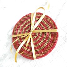 Beaded Coasters, Red & Gold, set of 4, fabric bead mats, holiday coasters image 5