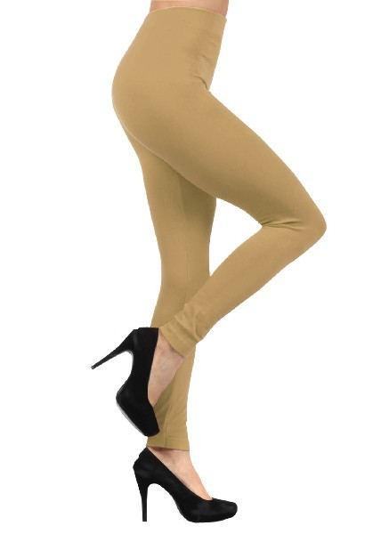 Primary image for Marmont Solid Color Seamless Kermo Fleece Legging - Free Size - Beige
