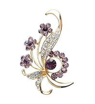Fashion Crystal & Diamond Party Brooch Pin Clothes Accessories PURPLE