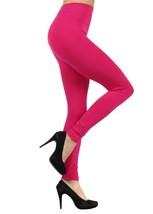 Solid Color Seamless Kermo Fleece Legging - Free Size - Fuscia - $11.99