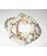Faux Pearl Bracelet on Stretch String Signed RMN - $4.00