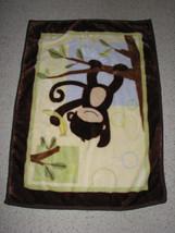 Lambs & And Ivy Baby Blanket Monkey Hanging From Tree Banana Soft Plush Fleece - $31.67