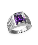 Sterling Silver Mens Square CZ June Birthstone Watchband Ring - $64.99