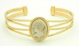 Pcraft Beige Female Bust Acrylic Cameo Gold Tone Cuff Bangle Bracelet - $19.79