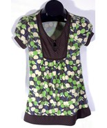 One Clothing Medium Womens Brown Green Summer Blouse I - $11.95