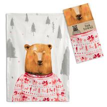 Farmhouse (4pk) BEAR IN A SWEATER TEA TOWEL Dish Rag Country Christmas K... - $42.99