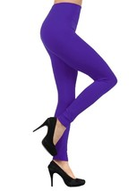 Solid Color Seamless Kermo Fleece Legging - Free Size - Purple - $11.99