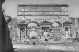 ITALY Rome Gate & Aqueduct Porta Maggiore - 1860 SCARCE Engraving Print - $30.60
