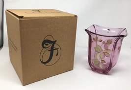 Fenton Art Glass Madras Pink Hand Painted Vase- New With Box! #8155 P6 - $139.50