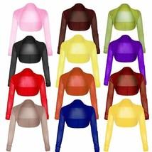 New Ladies Cropped Long Sleeve Bolero Shrug Sheer Mesh Cardigan UK Size 8-22. - $6.89 - $8.40