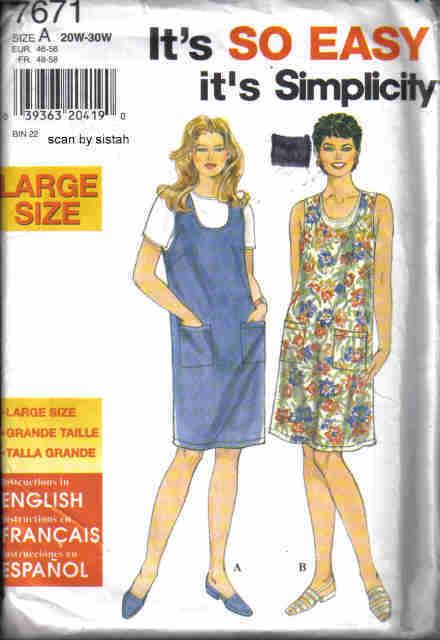 Simplicity 7671 easy Pattern 20 22 24 26 28 30 Dress Jumper sundress shift  Simplicity New Look