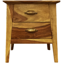 Contemporary Two Drawer Wooden Bedside Table - $275.00