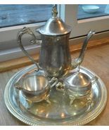 Vintage Silverplated silver Tea Set Coffee Sugar Creamer Fancy detailed ... - $54.13