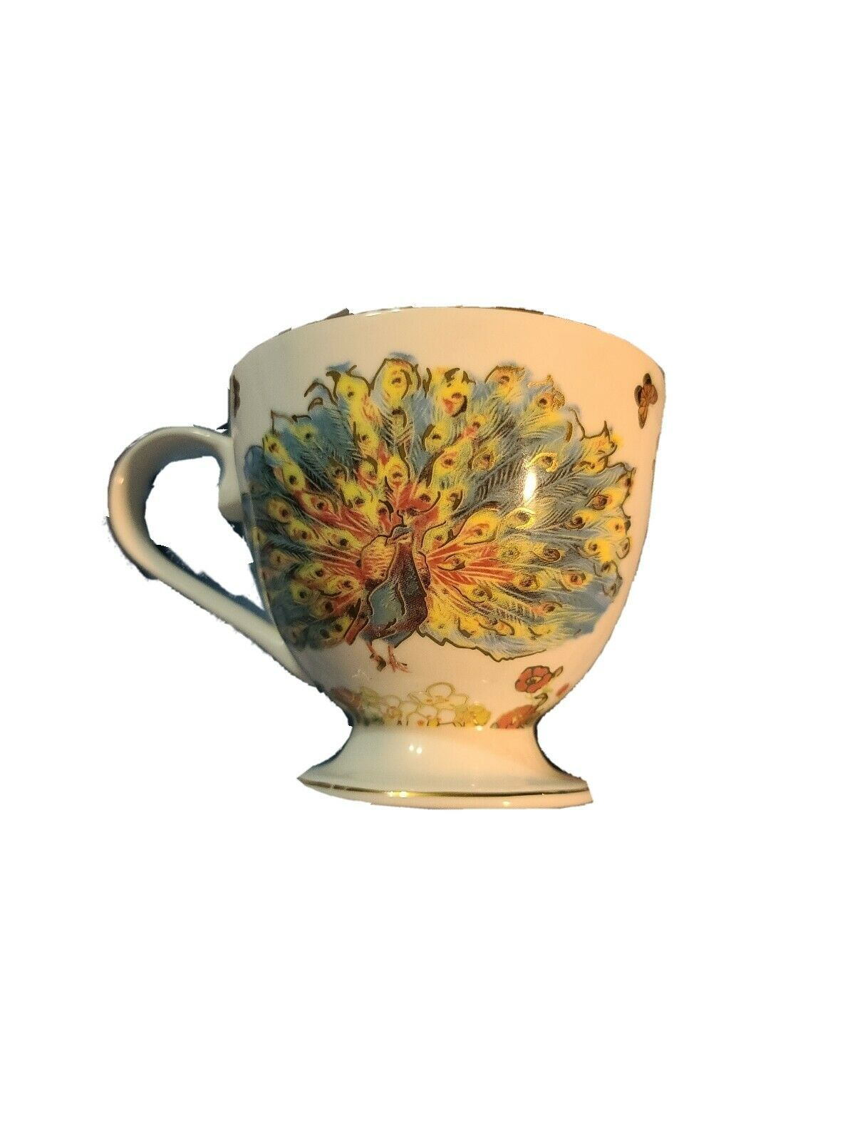 Footed Coffee Tea Mug Cup W/ Gold Accents Flamingos And Flowers, Grace's Teaware - $11.90