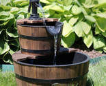 Sunnydaze Wooden Barrel w/ Hand Pump Outdoor Water Fountain Rustic Feature - 23'