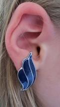 Vintage Dark Blue Hermes Wings Shell Wave Silver Tone Clip-On Earrings - $24.99
