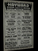 HAYWARD THEATRE 1935 TRACY Withers CAGNEY Temple FIELDS Cooper SHE  & Mo... - $127.39