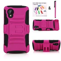 NEW Rugged Hybrid Hard and Soft Case w/ Belt Clip Holster for LG Google ... - $11.76