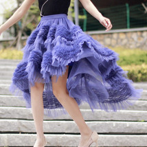 High-low Layered Tulle Skirt Outfit Plus Size Wedding Outfit Purple Tiered Skirt image 7