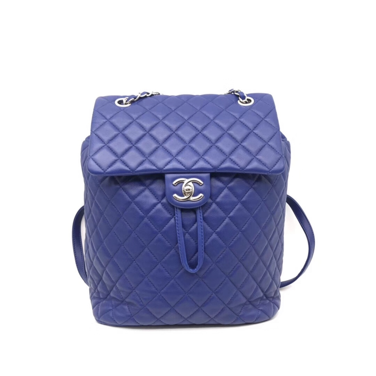 AUTHENTIC CHANEL ELECTRIC BLUE QUILTED LEATHER LARGE URBAN SPIRIT BACKPACK SHW