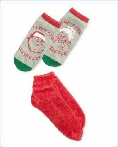 NWT HUE 2-pack Footsie Socks Gift Box Santa Christmas Holiday