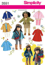 Simplicity Pattern 3551 Doll Clothes For 18 And 50