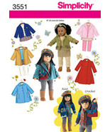 """Simplicity Pattern 3551 Doll Clothes for 18"""" Doll - $16.00"""