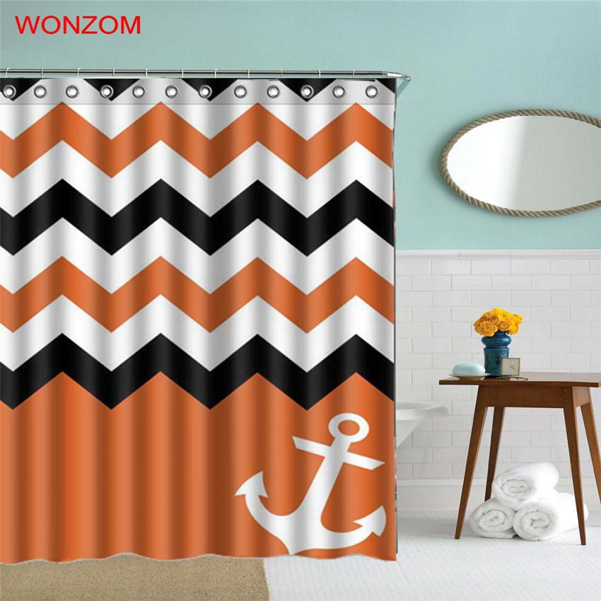 Chor waterproof shower curtain striped bathroom decor ocean decoration cortina de bano 2017 bath