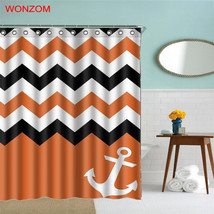 WONZOM 1Pcs Anchor Waterproof Shower Curtain Striped Bathroom Decor Ocea... - $35.15