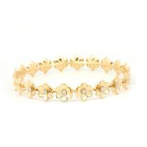 Natural Diamond Pave Flower Design Bangle Bracelet Solid 18k Yellow Gold... - $3,385.80