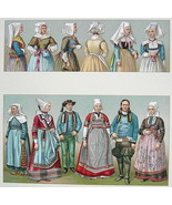 COSTUME French Women of Brittany Bonnets - SUPERB Color Antiqe Print A. ... - $22.95