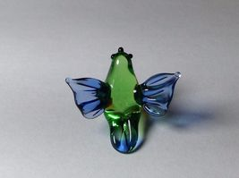Miniature Glass green and blue tropical bird   Handmade Blown Glass Made USA image 5