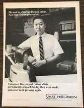 1968 Van Heusen Vanopress Dacron Shirts PRINT AD He Used to Press Them - $11.01