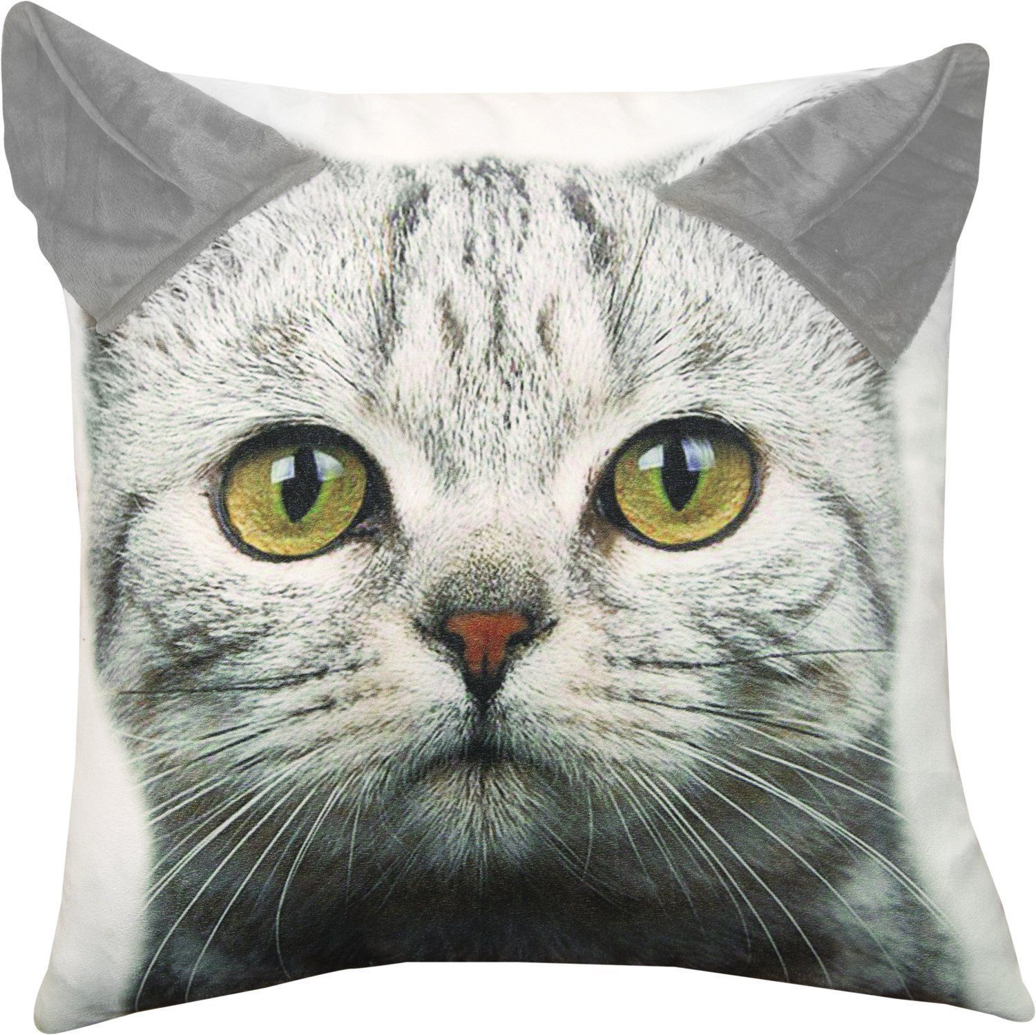 Primary image for Grey Tabby Kitty Cat Printed Throw Pillow with 3D Ears 18 X 18