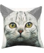 Grey Tabby Kitty Cat Printed Throw Pillow with 3D Ears 18 X 18 - £29.21 GBP