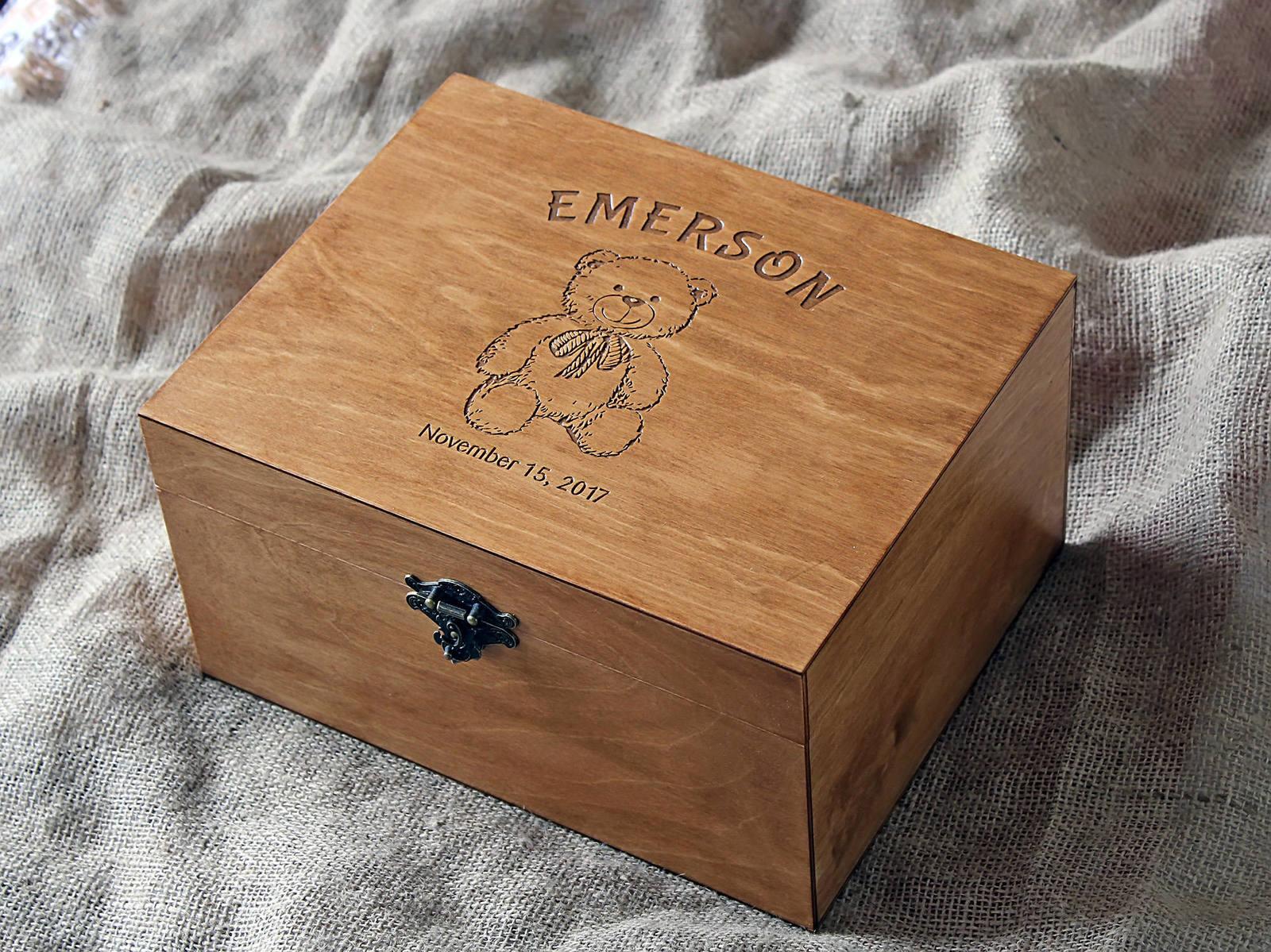 Personalised Engraved Wooden Baby Memory Box Oak//Natural Teddy Bear