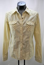 American Eagle Yellow Black Stripes Western Snap-Front Long Sleeve Shirt - M - $9.45