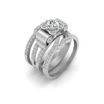 Solid 18k White Gold Wedding Ring Set 1.05cttw White Diamond Promise Rings Women - $1,879.99