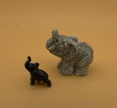 Adorable~Small Stone Baby~Tiny Ceramic~Lucky Elephant~Figurines~Lot of 2 - $11.88