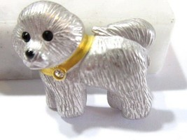 SMALL BRUSHED SILVER TONE BICHON DOG PIN WITH CRYSTAL ACCENT CUTE MINIATURE - $30.00