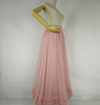 Pink Layered Tulle Ruffle Skirt Pink Bridesmaid Tulle Skirt Plus Size image 7