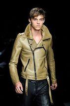 New Handmade Men Unique Brando Style leather jacket Lederjacke, Veste de... - $159.00+