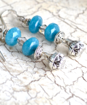 Aquamarine Earrings, March Birthstone, Dangle Earrings, Blue Aqua Marine... - $14.99