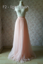 Blush Long Tulle Skirt Blush Wedding Bridesmaid Long Tulle Skirt A-line T1868 image 3