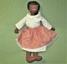 "20"" VINTAGE BLACK FOLK ART CLOTH DOLL AA HAND CRAFTED STUFFED 3 PIECE OU... - $116.88"