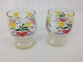 Set of 2 Mid Century Retro Gay Fad  4 oz Fruit Orange Juice Glasses - $12.82
