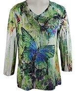 Jess & Jane - Butterfly Forest, Rhinestones, V-Neck, Sublimation Burnout... - $46.99